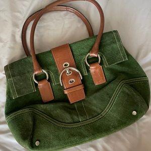 Coach Green Suede fold over flap handbag